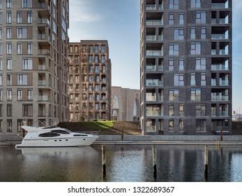 Public open harbor in Vejle, Denmark