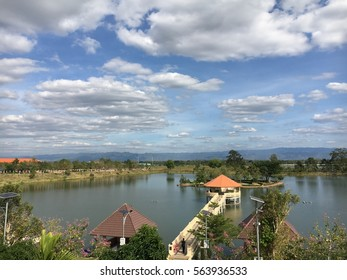 Public park ,lake and blue sky with view mountain.