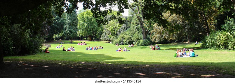 Public park with people resting