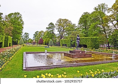 Public Park with statue in the foreground in Karlskrona, Sweden.