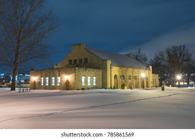 public pavilion at harriet island regional park in downtown saint paul ramsey county minnesota at night in winter