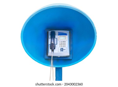 Public payphone station isolated on white background