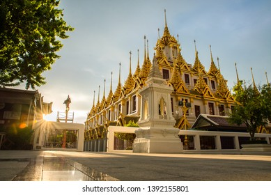 (Public place) Loha Prasat is iron castle at Wat Ratchanatdaram Bangkok Thailand. Composed of five towers, of which the outer, middle and the center towers contain large black iron spires.