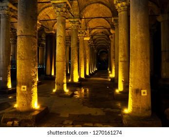 Public places A world heritage Yerebatan Sarnici  in the historic city of Turkey.