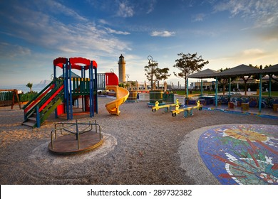 Public playground for children in the park at the lighthouse of Patras.