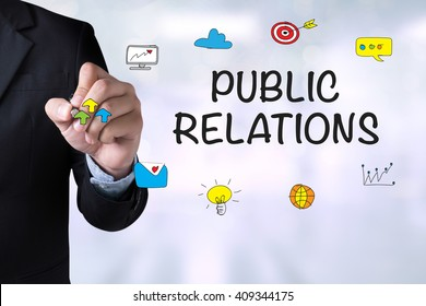 PUBLIC RELATIONS and Businessman drawing Landing Page on blackboard