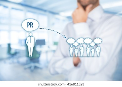 Public relations (PR) concept. Businessman think about PR services (public relations) and its impact to public, office in background.