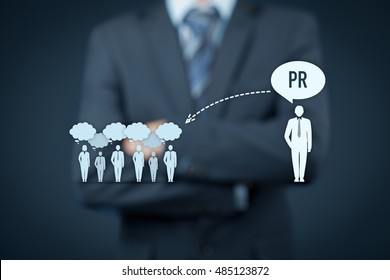 Public relations (PR) concept. Businessman think about PR services (public relations) and its impact to public.