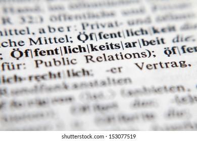 Ã?Â?ffentlichkeitsarbeit - Public relations, text and explanation in German language./Ã?Â?ffentlichkeitsarbeit - Public relations