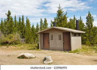 Public restroom at rest area in Colorado, USA