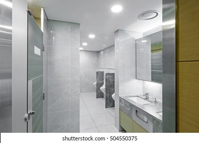A public restroom(public toilet, bathroom, toilet, loo, rest- room, washroom, lavatory, the john, the can) interior in hotel, seoul, south korea.