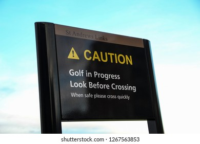 A public safety signboard at St Andrews golf course Scotland