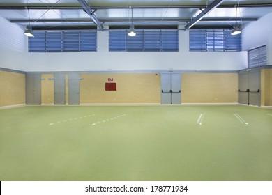 Public school, interior wide gym.
