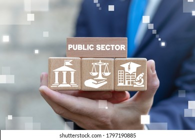Public Sector Government Education Health Municipal Service Provide People Infrastructure Concept.