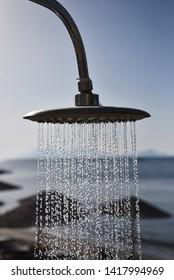Public shower on the beach.