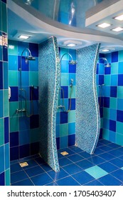 Public shower room with several showers