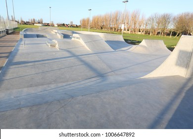 public skatepark in harwich, essex. For bikes, scooters and skateboards Concrete.