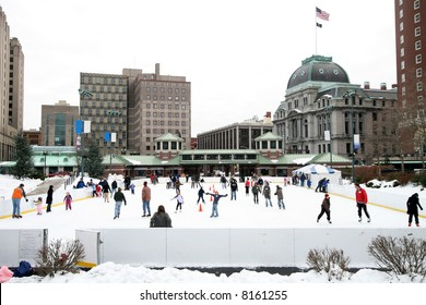 public skating rink with ice skaters, Providence, RI