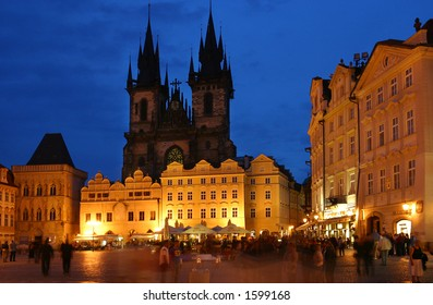 Public square in Prague by nigth.