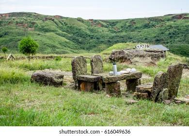 A public stone tea table, on Shillong-Guwahati road, Meghalaya, India.