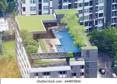 The public swimming pool of the condo on the rooftop.