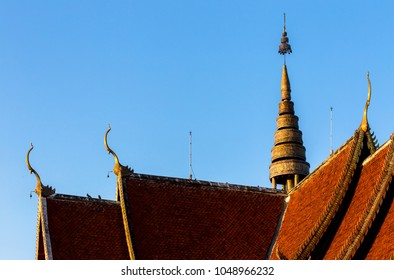 The public temple  Wat Phra That Doi Saket decorated with Dragon statues or Naga staircase on structure in Chiang Mai,Thailand.