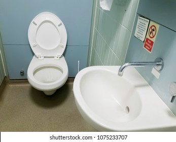 Public toilet with a toilet and a sink in the same cubicle.