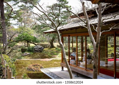 Public traditional Japanese Tea house at Kenroku-en Garden in Kanazawa, Japan