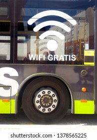 Public transport bus, with free Wi-Fi offer on board. Closeup