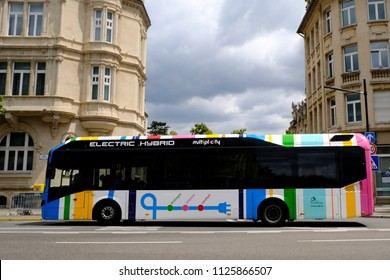 A public transport bus in main street of  Luxembourg city on Jun. 22, 2018.