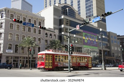 PUBLIC TRANSPORT IN THE CITY CENTER OF NEW ORLEANS USA - CIRCA 2014 - Riverfront streetcar at Toulouse Street station New Orleans USA