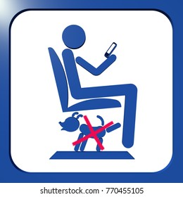 Public transport funny sign 3D illustration. A man sitting in the public transport, playing with his smart phone and his dog misbehaving under the seat. Collection.
