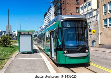 Public transport, modern tram in Helsinki in a beautiful summer day, Finland