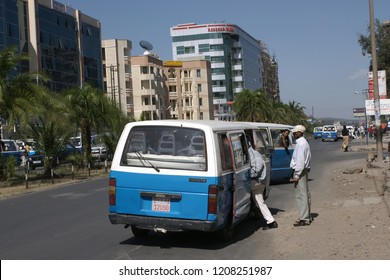 Public transport with small Toyota mini buses in Addis Ababa, capital city of Ethiopia, Addis Ababa/Ethiopia - March 16 - 2009