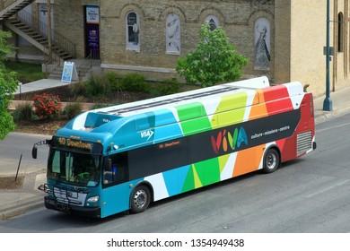 A public transportation bus in downtown San Antonio, Texas, near hemisphere park - San Antonio, Texas, USA - March 30, 2019