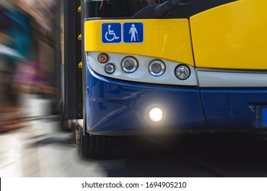 Public transportation / bus in urban surroundings on a station.