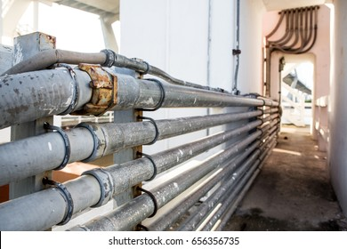 public utility service metal pipe line in urban tunnel