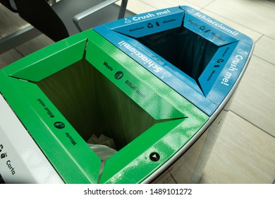 Public waste bins for metal plastic and glass