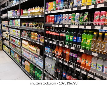 Puchong , Malaysia - 9 May 2018 : Assorted of refreshment water drink display for sell in the supermarket shelves.