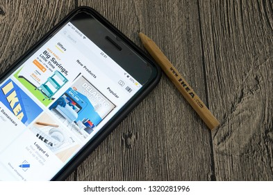 Puchong, Malaysia - February 22, 2019; Ikea store application on smartphone screen. Ikea store is a freeware web browser developed by Ikea. Selective focus.