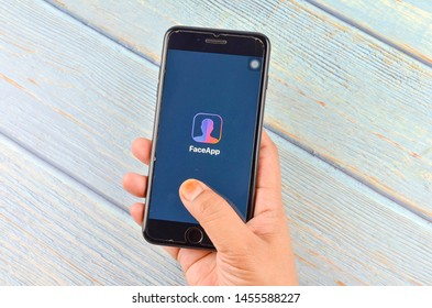 Puchong, Malaysia - July 19, 2019; The iPhone 7 plus with FaceApp on the screen, faceapp is a popular photo editing application on the App Store.