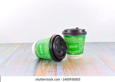 Puchong, Malaysia - May 16, 2019; Close up shot of McDonald's disposable paper coffee cup. McDonald's is an American hamburger and fast food restaurant chain.
