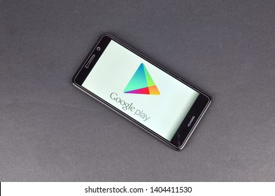 Puchong, Malaysia - May 22, 2019; A picture of Huawei smartphone with Google Play Store logo. Huawei will no longer used Android and Google system after been ban by US government.