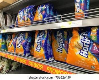 Puchong, Selangor, Malaysia- 13 November 2017; View of various packages of Horlicks on the shelves of local supermarket. Horlicks is a malted milk hot drink.