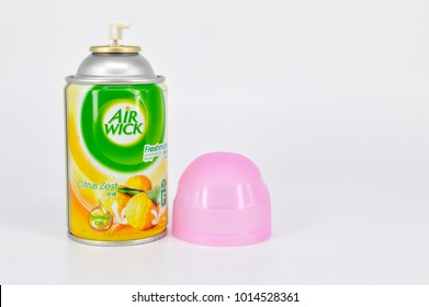 Puchong, Selangor, Malaysia- 31 January 2018; Can of Air Wick citrus zest spray freshener on white background. This aerosol can neutralize odors in seconds.
