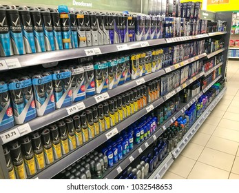 Puchong, Selangor, Malaysia- February 23, 2018; Assorted man deodorant products, display and ready to sell in a store in supermarket.