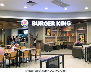 Puchong, Selangor, Malaysia- February 23, 2018; American Burger King's branch are franchised in the base ground floor in the Tesco shopping mall. This image may contain noise, blurry and soft focus.