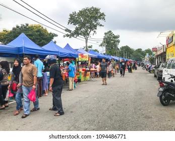 Puchong, Selangor, Malaysia- May 20, 2018; First day of Ramadan with food vendors at street bazaar selling delicacies catered for iftar or buka puasa.