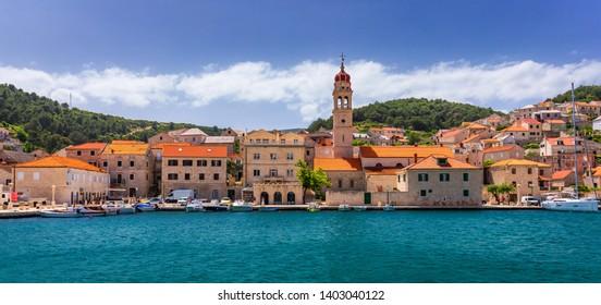 Pucisca is small town on Island of Brac, popular touristic destination on Adriatic sea, Croatia. Pucisca town Island of Brac. Adriatic coast town Pucisca.