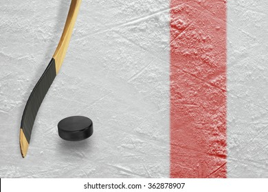 The puck, stick at the red line on a hockey rink. Texture, background